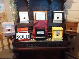 hand crafted upright piano birdhouses