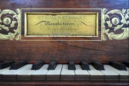 Manufacturer graphic on Stephen Foster's piano