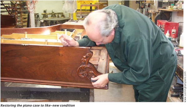 Restoring the piano case to like-new condition